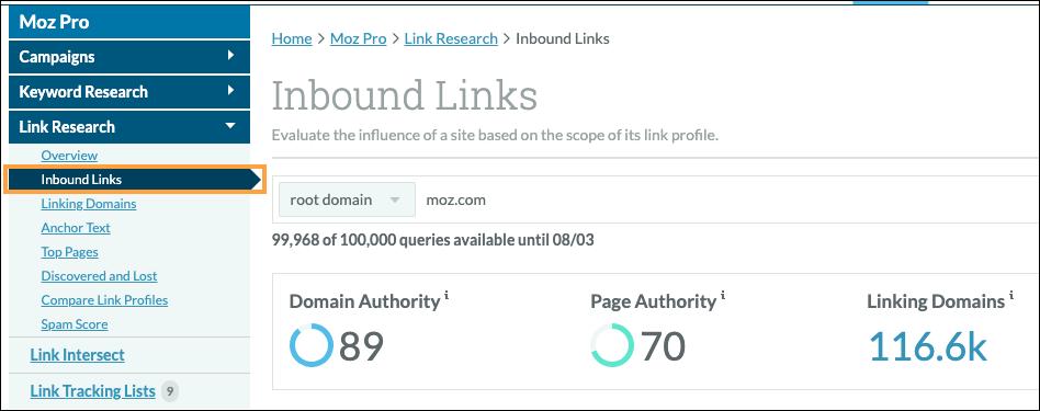 content KPIs - inbound links
