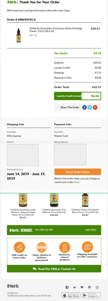 order confirmation email template - loyalty program