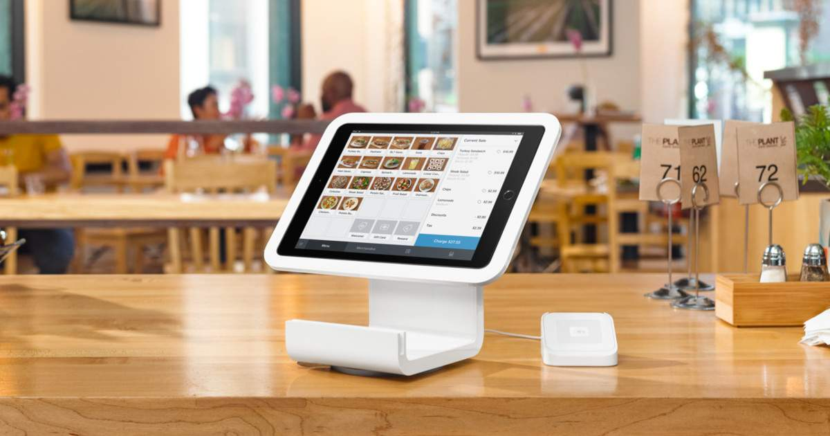 retail checkout counter with ipad