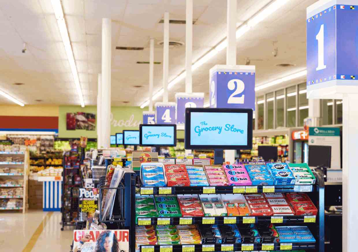tv screens over checkout counter